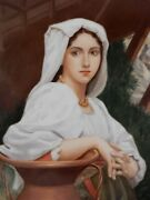 Antique German Porcelain Plaque Of Italian Girl Drawing Water By P. Calvi