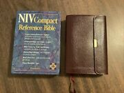 Niv 1984 Bible Compact Reference -burgundy Bonded Leather Button Flap - Oop 84