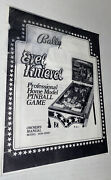 Vintage Manual Only Evel Knievel Bally Pinball Machine Free Ship Read All