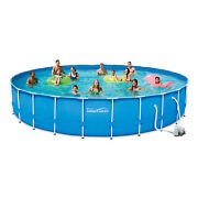 Summer Waves 24 Ft Active Frame Round Above Ground Swimming Pool
