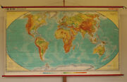 Wall Map Physical World Map 96 1/2x55 7/8in Vintage School Map 1978