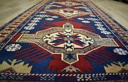 Rare 1950s Antique Caucasian One-of-a-kind Turkish Kazak Handmade Rug 4 X 10ft