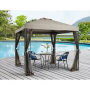 Outdoor Gazebo Patio Shade Cover 8 X 8ft With Mosquito Netting Tan Fabric 102inh