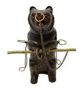Hand Carved Figural Bear Tobacco And Pipe Stand C1900