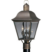 Andover Collection 3-light Antique Bronze Clear Beveled Glass Farmhouse Outdoor