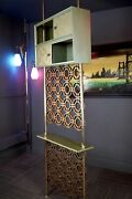 Mid Century Modern Stiffel Style Tension Pole Room Divider Avocado And Gold Tone