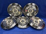 Vintage Set Of 5 1957 Ford 14andrdquo Hubcaps Fairlane Tbird Galaxie Fomoco