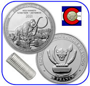 2021 Congo Wooly Mammoth 1 Oz Silver Coin - Prehistoric Life - Roll Of 20 Coins