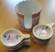 Partylite Tea Bag Holder 7 Pc 6 Small Holders New Pink Trim With Flowers