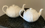 2 Wedgewood White Countryware Bone China Teapots 3-cup Capacity And 5-cup Capacity
