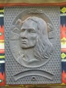 Antique Chief Seattle Indian Cast Iron Sidewalk Road Utility Building Salvage