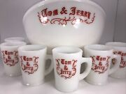 Vintage Mckee Glass Tom And Jerry Christmas Punch Bowl W/ 6 Mugs Signed Excellent