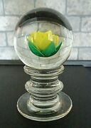 1960s Francis Whittemore Glass Yellow Crimp Rose Pedestal Paperweight 3.60 Tall