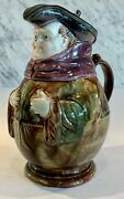 Antique French Majolica Pewter Lid Monk Pitcher Jug Tankard 19thc