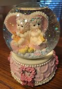 Cherub Angels Lyre-harp And Trumpet Musical Snow Globe Plays Somewhere Out There