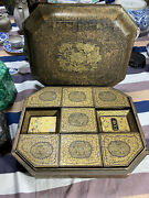 A Fine Antique Chinese Export Gilt Lacquer Game Box