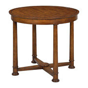 Empire Style Round Side Table - Rustic Walnut