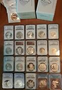 1994 To 2013 20-coin Commem + 2006-w 20th Anniv Silver Eagle Set Ngc Pf70 Ms70