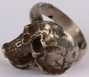Skull Ring Sterling Silver 800 Ww1 Wwi Or Wwii Ww2 18.33 G Special Force Shock