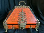 Vintage Wood Malabar Jewelry Chest Box With Thick Brass Accents.