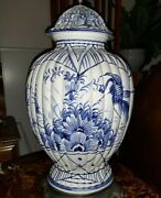Vintage Italy Delft Blue And White Hand Painted Vase Table Lamp 35 T X 9 W