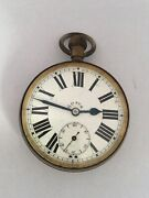 Antique Silver Plated 8 Day Pocket Watch For Spares Or Repair