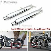 Retro Fishtail Exhaust Mufflers Pipes Silencer For Bmw K750 M72 R71 Dnepr Ural