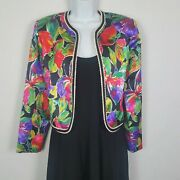 Vtg 80s Nah Nah Collections Jonathan Tait Bright Floral Cropped Jacket Sz 14p