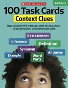100 Task Cards Context Clues Reproducible Mini-passages With Key Questions...