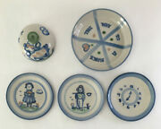 Lot Of 5 Ma Hadley Pottery Salad Plates/butter Dish Lid/pie Plate Heart No Flaws