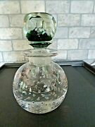Large Pairpoint Glass Controlled Bubble Perfume Bottle Millefiori Faceted Stoper