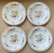 """4 Liling Fine China Yung Shen Ling Rose Butterfly Rimmed Coupe Soup Bowls 8.25"""""""