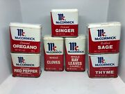 7x Vintage Mccormick Metal Spice Tins 5 Small 2 Tall Preowned