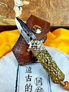 Mini Drop Point Knife Folding Pocket Hunting Survival Damascus Steel Collectible