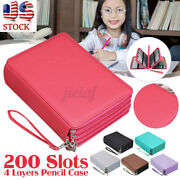 200 Slot Leather Storage Pen Box Student Organizer Pencil Case Makeup Bag Gift