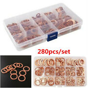 280pcs Assorted Engine Box Washers Solid Copper Sump Plug Washer Box
