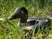 Rare Antique 🦆 Goldeneye Duck Decoy Carved Wood Solid Hand Painted