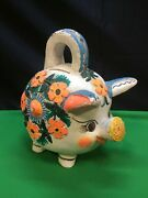 Vintage Hand Painted Mexican Piggy Bank White W/flowers.