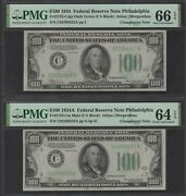 1934 100 Philly Uncirculated Changeover Pair Pmg66epq