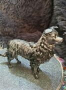 Border Collie Figurine In Two Tone Titanium Effect, Highly Polished, High Detail