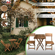 3 Pcs Folding Wooden Bistro Set Dining Indoor Outdoor Furniture Bbq Picnic Party