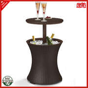 Outdoor Patio Furniture Bar Table With 7.5 Gallon Beer Wine Cooler Brown