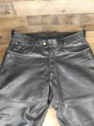 Hein Gericke Mens Motorcycle Pants Black Pockets Flat Front Button Leather 38
