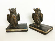 Vtg Antique Bookends Armor Bronze Clad Ny Horned Wise Owl On Book Bird Bookend