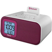 Ihome Bluetooth Bedside Dual Alarm Clock With Usb Charging And Aux White/pink