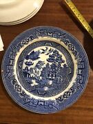 Antique Allertons England Willow Blue Transfer Ware 10 Dinner Plate - 4