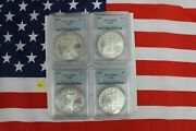 Silver American Eagles - 4 Different 2004, 2005, 2006, 2007 - Pcgs Ms69 Y81