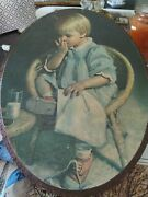Vintage Woodcroftery Hanging Oval Picture Little Girl Wth Milk And Cookie 10.5 X 8