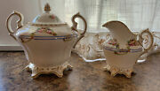Antique 18th Century 1762 French Sevres Porcelain Creamer And Sugar Bowl Set