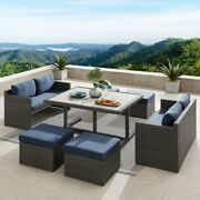 Patio Furniture Dining Set 7 Piece Chair And Table Rectangle Navy Wicker Cushion
